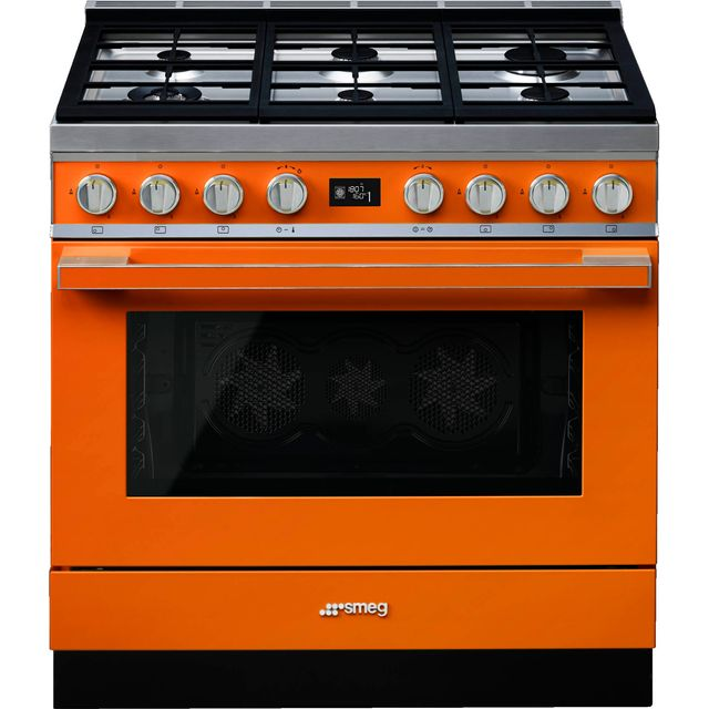 Smeg Portofino CPF9GPOR 90cm Dual Fuel Range Cooker - Orange - A+ Rated - CPF9GPOR_OR - 1