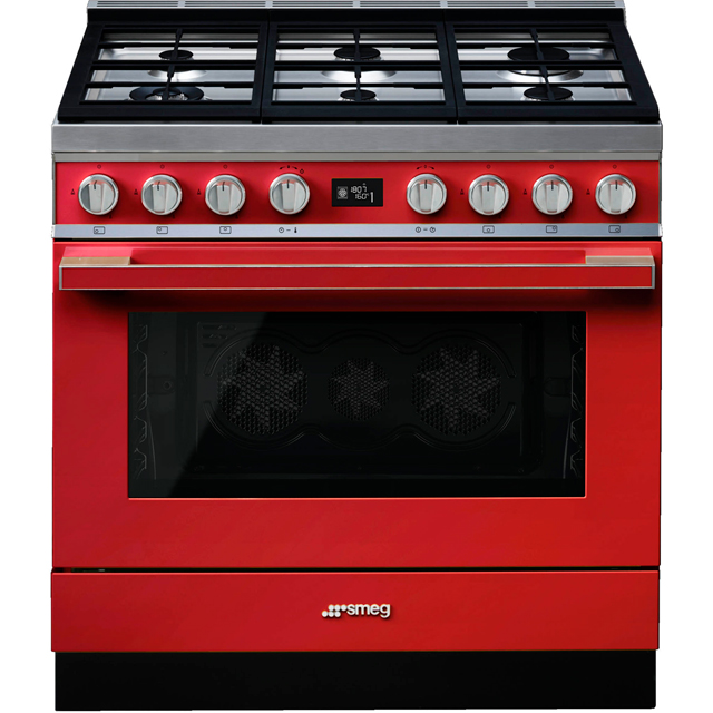 Smeg Portofino 90cm Dual Fuel Range Cooker - Red - A+ Rated