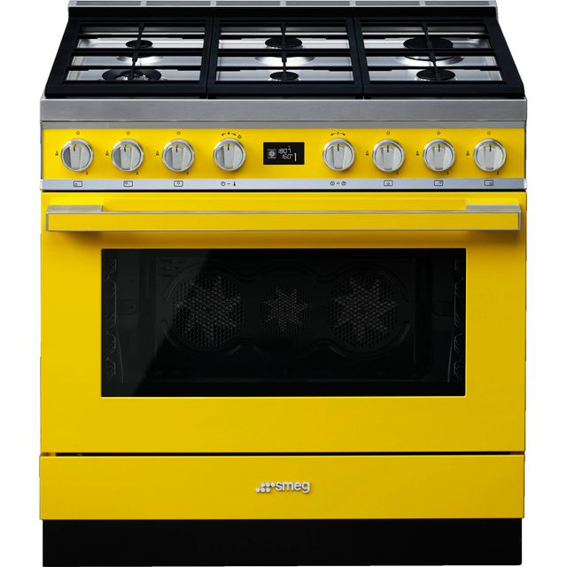 Smeg Portofino 90cm Dual Fuel Range Cooker - Yellow - A+ Rated