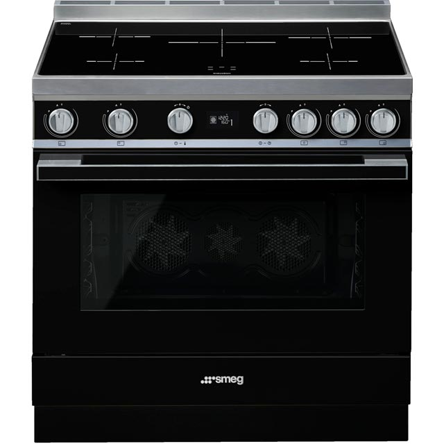 Smeg Portofino 90cm Electric Range Cooker with Induction Hob - Black - A+ Rated