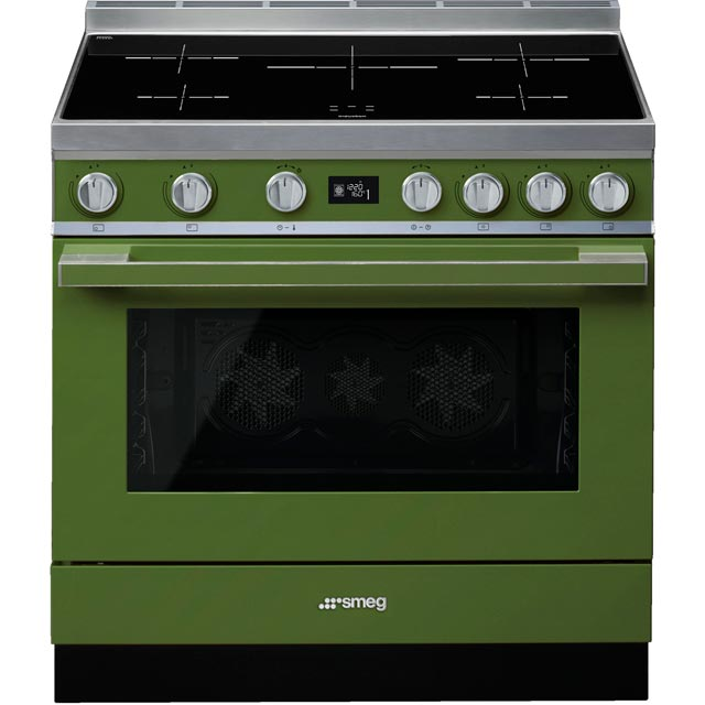 Smeg Portofino 90cm Electric Range Cooker with Induction Hob - Olive Green - A+ Rated