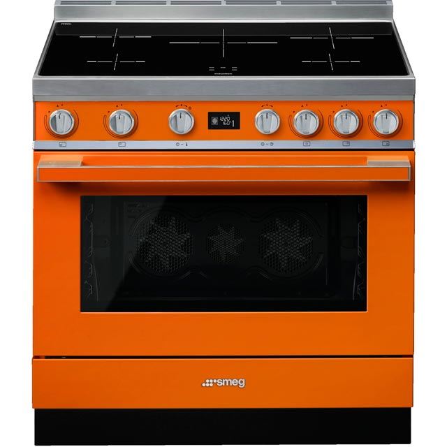 Smeg Portofino 90cm Electric Range Cooker with Induction Hob - Orange - A+ Rated