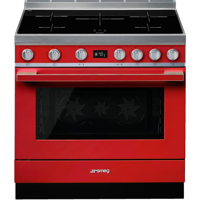 Smeg Portofino CPF9iPR 90cm Electric Range Cooker with Induction Hob - Red - A+ Rated - CPF9iPR_RD - 1