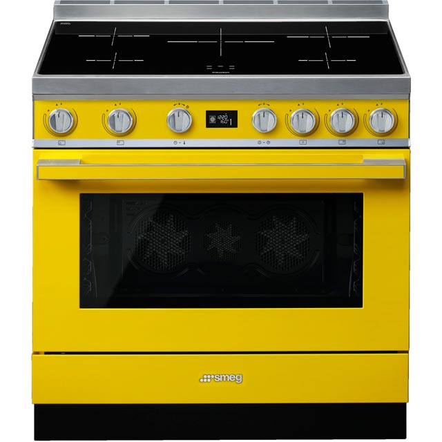 Smeg Portofino 90cm Electric Range Cooker with Induction Hob - Yellow - A+ Rated