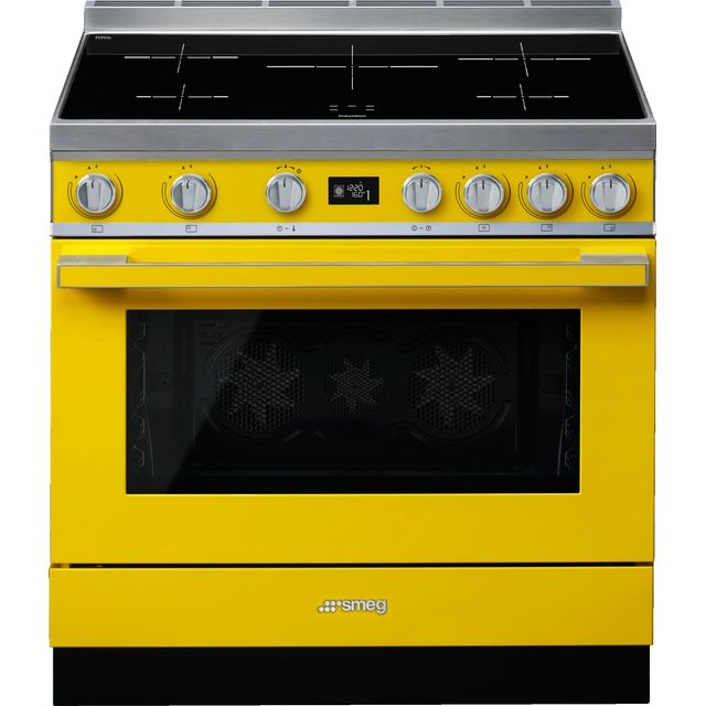 Smeg Portofino CPF9iPYW 90cm Electric Range Cooker with Induction Hob - Yellow - A+ Rated