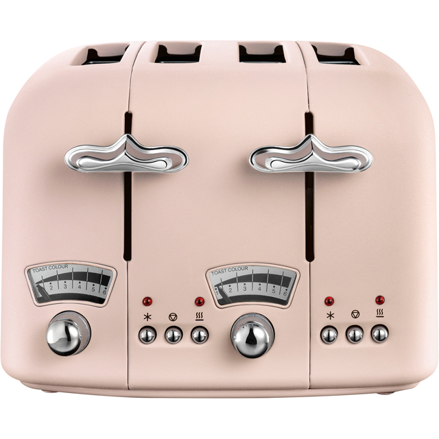DeLonghi Argento Flora CT04.PK 4 Slice Toaster - Peony Rose