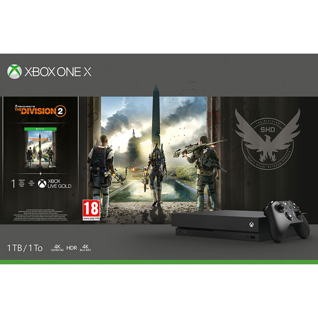 Xbox One X 1TB with Tom Clancy's The Division 2 (Digital Download) with 1 Month Xbox Game Pass & 1 Month Xbox Live Gold - Black - CYV-00261 - 1