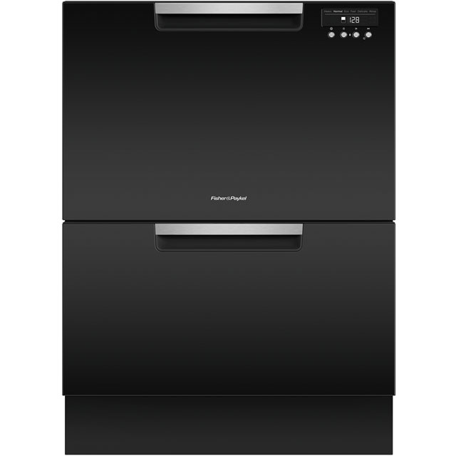 Fisher & Paykel Double DishDrawer™ Semi Integrated Standard Dishwasher - Black with Fixed Door Fixing Kit - A Rated