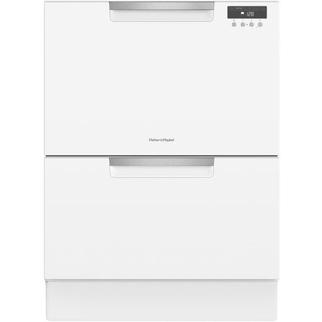 Fisher & Paykel Double DishDrawer™ Semi Integrated Standard Dishwasher - White with Fixed Door Fixing Kit - A Rated