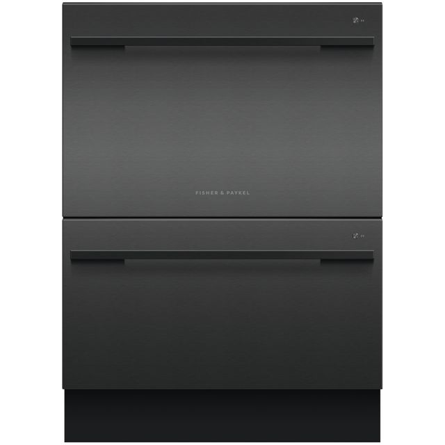 Fisher & Paykel Double DishDrawer� DD60DDFHB9 Semi Integrated Standard Dishwasher - Black Steel Control Panel with Fixed Door Fixing Kit - E Rated