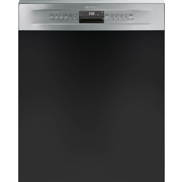 Smeg DD612 Semi Integrated Standard Dishwasher - Stainless Steel Control Panel with Fixed Door Fixing Kit - A+ Rated - DD612_SS - 1