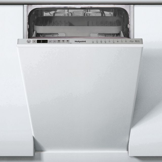 Hotpoint HSIO3T223WCEUKN Fully Integrated Slimline Dishwasher - Silver Control Panel - E Rated