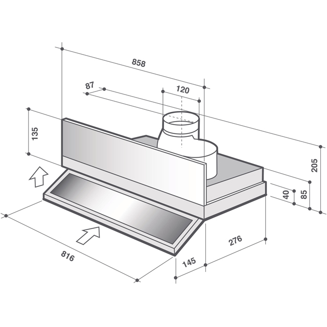De Dietrich DHT1119X Built In Integrated Cooker Hood - Stainless Steel - DHT1119X_SS - 2