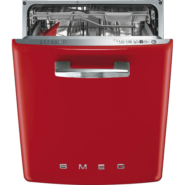 Smeg 50's Retro Fully Integrated Standard Dishwasher - Red with Fixed Door Fixing Kit - A+++ Rated