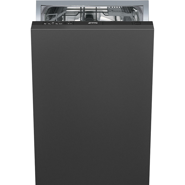Smeg DIC410 Fully Integrated Slimline Dishwasher - Black Control Panel with Fixed Door Fixing Kit - A+ Rated - DIC410_BK - 1