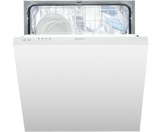 Indesit Eco Time DIF04B1 Fully Integrated Standard Dishwasher - White Control Panel with Fixed Door Fixing Kit - A+ Rated - DIF04B1_WH - 1