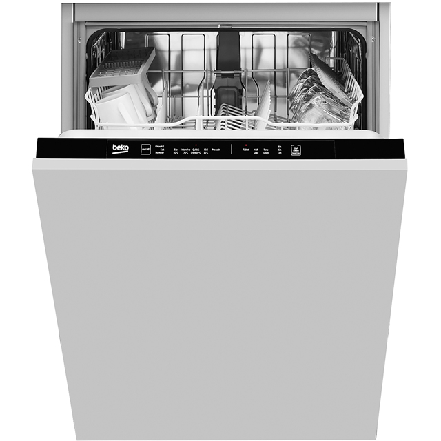Beko DIN15R11 Fully Integrated Standard Dishwasher - Black Control Panel with Fixed Door Fixing Kit - A+ Rated - DIN15R11_SI - 1