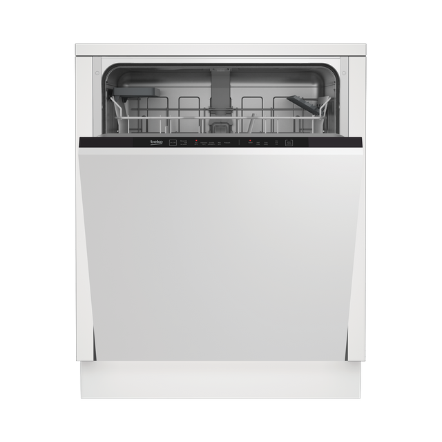 Beko DIN15R11 Fully Integrated Standard Dishwasher - Black Control Panel with Fixed Door Fixing Kit - A+ Rated