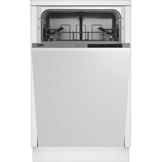 Beko DIS15R10 Fully Integrated Slimline Dishwasher - Silver Control Panel - A+ Rated