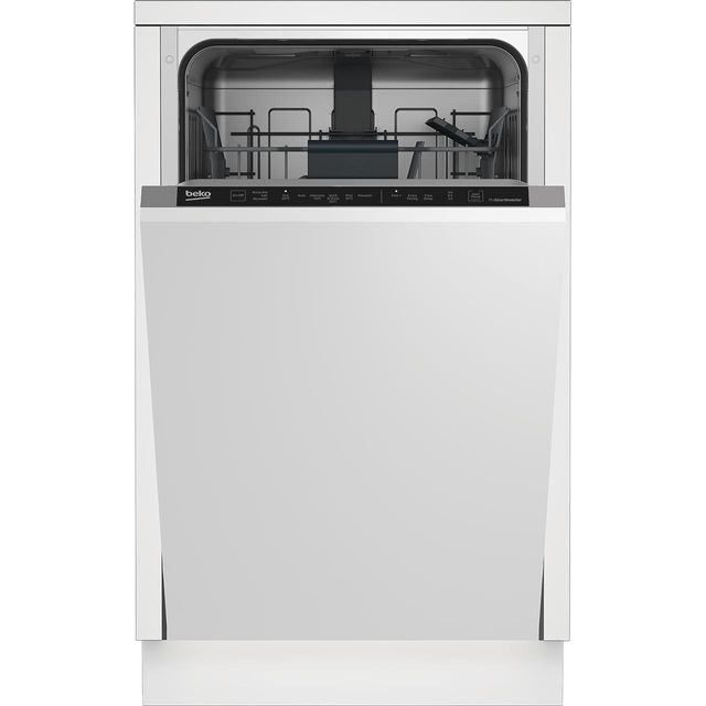 Beko DIS16R10 Fully Integrated Slimline Dishwasher - Silver Control Panel with Fixed Door Fixing Kit - A++ Rated - DIS16R10_SI - 1