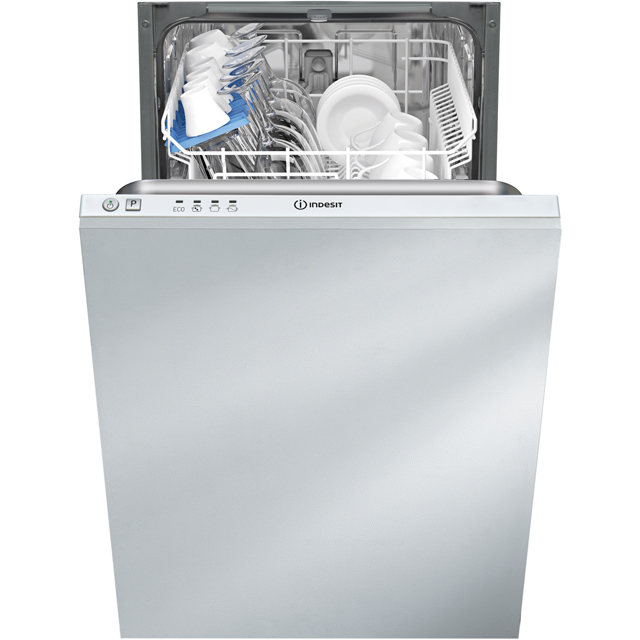 Indesit DISR14B1 Fully Integrated Slimline Dishwasher - Silver Control Panel