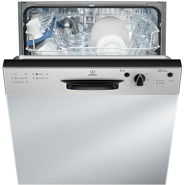 Indesit Eco Time DPG15B1NX Semi Integrated Standard Dishwasher - Silver Control Panel with Fixed Door Fixing Kit - A+ Rated