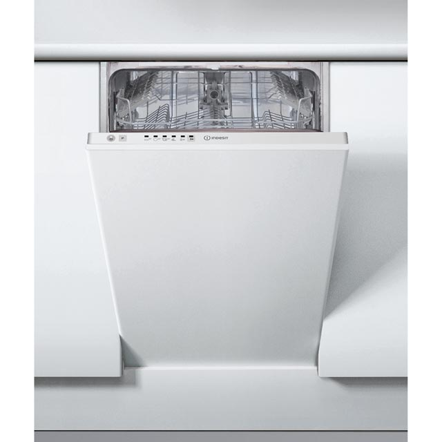 Indesit DSIE2B10UK Fully Integrated Slimline Dishwasher - White Control Panel with Fixed Door Fixing Kit - A+ Rated
