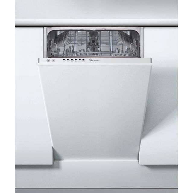 Indesit DSIE2B19UK Fully Integrated Slimline Dishwasher - White Control Panel with Fixed Door Fixing Kit - A+ Rated