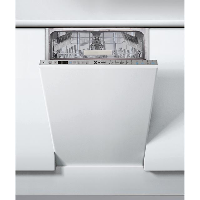 Indesit Fully Integrated Slimline Dishwasher - Silver Control Panel with Fixed Door Fixing Kit - A++ Rated