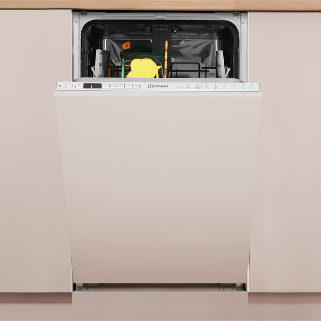 Indesit DSIO3T224EZUK Fully Integrated Slimline Dishwasher - Silver Control Panel with Fixed Door Fixing Kit - A++ Rated - DSIO3T224EZUK_SI - 1
