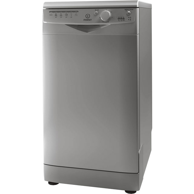 Indesit DSR15B1S Slimline Dishwasher - Silver - A Rated - DSR15B1S_SI - 1