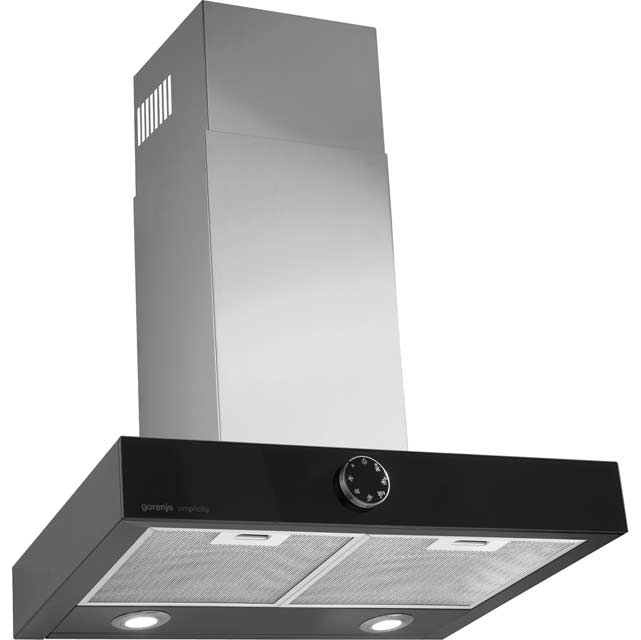Gorenje Simplicity Collection DT6SY2B 60 cm Chimney Cooker Hood - Black / Stainless Steel