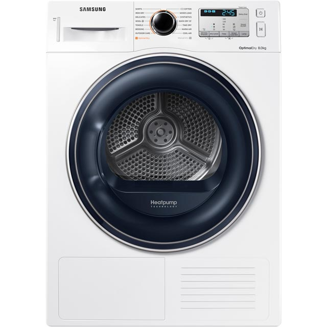 Samsung DV80M50133W 8Kg Heat Pump Tumble Dryer - White - A++ Rated Best Price, Cheapest Prices