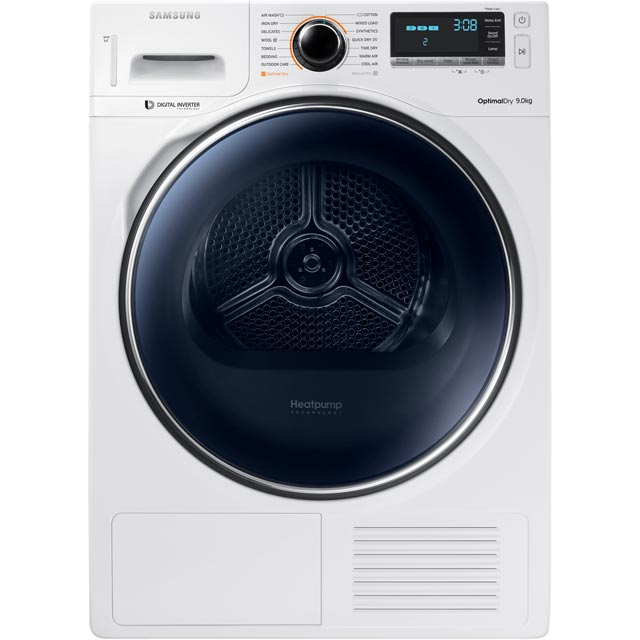 Samsung DV90M8204AW Free Standing Condenser Tumble Dryer in White