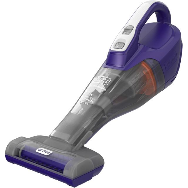 Black & Decker 12v Pet Dustbuster DVB315JP-GB Handheld Vacuum Cleaner in Grey / Purple