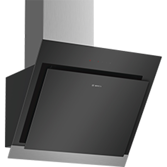 Bosch Serie 4 DWK67HM60B 60 cm Chimney Cooker Hood - Stainless Steel / Black Glass - A Rated - DWK67HM60B_SSB - 1