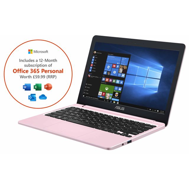 "Asus VivoBook E12 11.6"" Laptop Includes Office 365 Personal 1-year subscription with 1TB Cloud Storage - Pink"