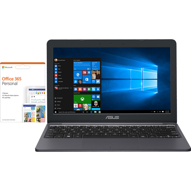 "Asus E203 11.6"" Laptop Includes Office 365 Personal 1-year subscription with 1TB Cloud Storage - Star Grey - E203MA-FD017TS - 1"