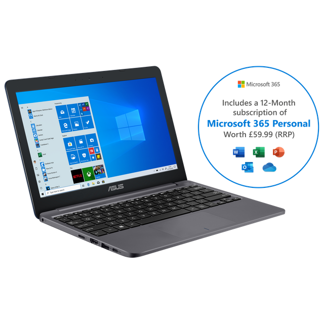 "Asus E203 11.6"" Laptop Includes Microsoft 365 Personal 12-month subscription with 1TB Cloud Storage - Star Grey"