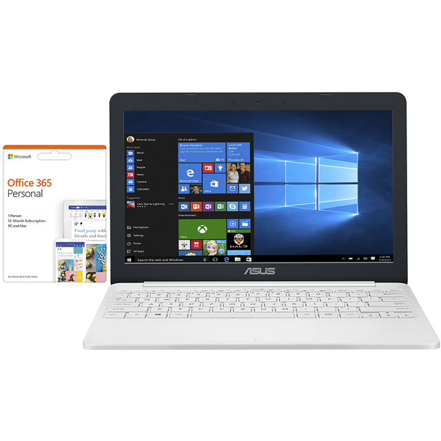 "Asus E203 11.6"" Laptop Includes Office 365 Personal 1-year subscription with 1TB Cloud Storage - Pearl white - E203MA-FD018TS - 1"