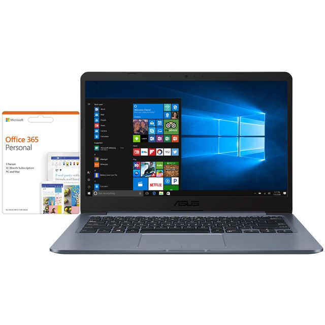 "Asus E406MA 14"" Laptop Includes Office 365 Personal 1-year subscription with 1TB Cloud Storage - Star Grey - E406MA-BV009TS - 1"