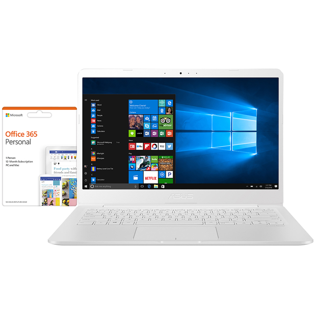 "Asus E406MA 14"" Laptop Includes Office 365 Personal 1-year subscription with 1TB Cloud Storage - Pearl white - E406MA-BV010TS - 1"