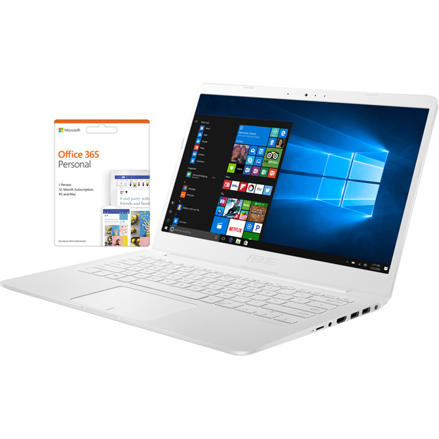 "Asus E406SA 14"" Cloudbook Laptop includes Office 365 Personal 1-year subscription with 1TB Cloud Storage - Pearl white - E406SA-BV225TS - 1"