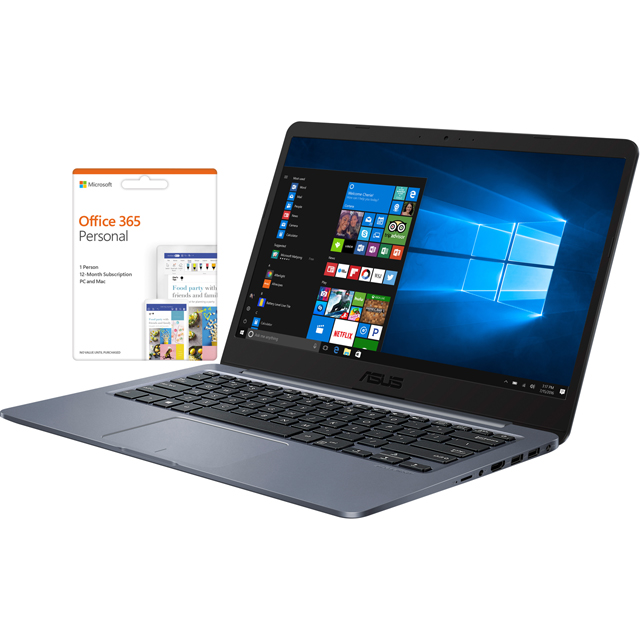 "Asus E406SA 14"" Cloudbook Laptop includes Office 365 Personal 1-year subscription with 1TB Cloud Storage - Star Grey - E406SA-BV227TS - 1"
