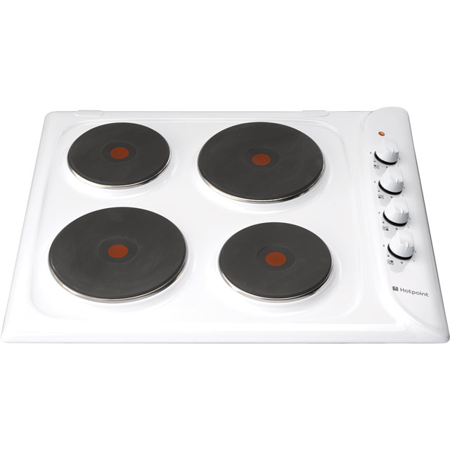 Hotpoint E604.1W 58cm Solid Plate Hob - White