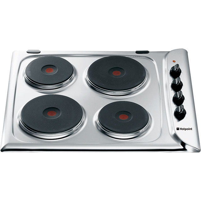 Hotpoint E604.1X 58cm Solid Plate Hob - Stainless Steel