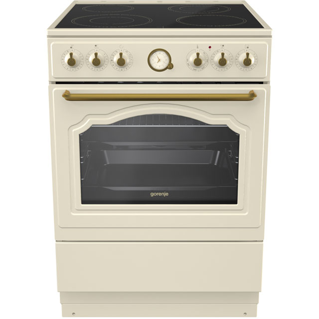 Gorenje Classico Collection EC62CLI 60cm Electric Cooker with Ceramic Hob - Ivory Cream - A Rated - EC62CLI_IV - 1