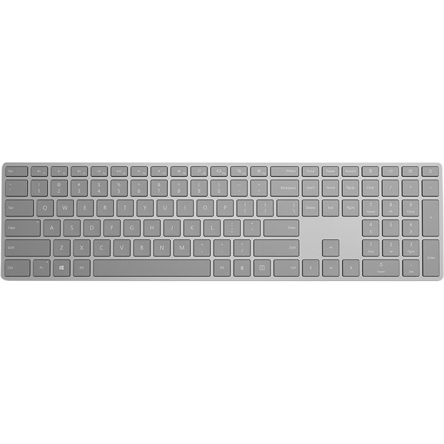 Microsoft Modern Keyboard with Fingerprint ID Bluetooth Keyboard - Grey Aluminium