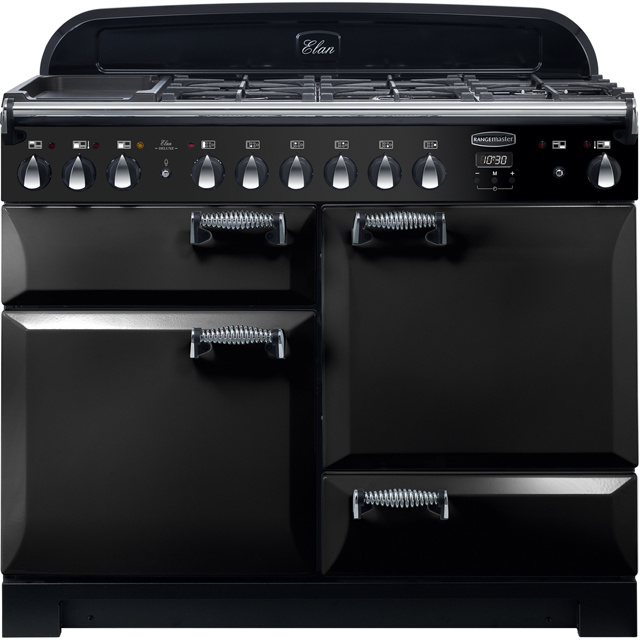 Rangemaster Elan Deluxe 110cm Dual Fuel Range Cooker - Black - A/A Rated