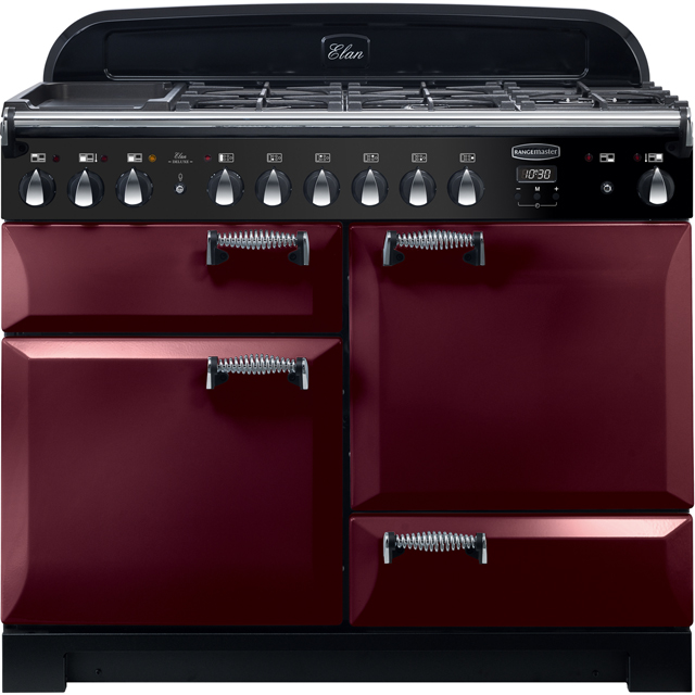 Rangemaster Elan Deluxe 110cm Dual Fuel Range Cooker - Cranberry - A/A Rated